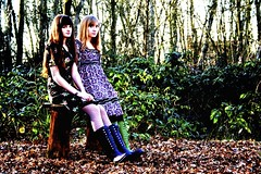 It's a colourful world. (AshleaJade) Tags: colour green bench photography different dress purple wellies