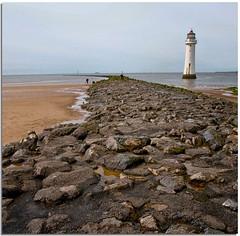 Lighthouse at New Brighton (lovestruck.) Tags: uk sea summer lighthouse beach liverpool seaside sand rocks shore groyne 2012 wirral newbrighton challengeyouwinner