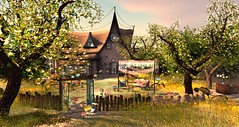 Talamasca (♛ Baronne ♛) Tags: door trees light shadow house cute beautiful grass garden amazing chair glow place decoration dream jardin peaceful atmosphere fairy arbres onceuponatime fantasy secondlife dreamy deco maison pure magical region sim chaise fairytales herbe tamalasca