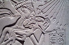 House Altar wih Akhenaten, Nefertiti and Three Daughters, detail with kiss