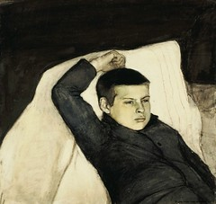 Enckell, Magnus (1870-1925) - 1892 Reclining Boy (Finnish National Gallery, Helsinki, Finland) (RasMarley) Tags: portrait child 19thcentury painter finnish realism 1890s 1892 enckell publiccollection magnusenckell recliningboy