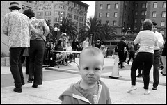 Dancers, Union Square #3 (abking09) Tags: sanfrancisco street blackandwhite bw woman man monochrome happy child dancers candid swing unionsquare
