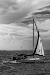 Diva, at Bay (J.C.Photos) Tags: ocean sea monochrome sailboat outdoors boat nikon moody cloudy sails chesapeake chesapeakebay d7000