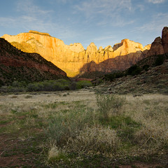 Temples and Towers of the Virgin - II (JJide) Tags: park light grass sunrise landscape utah nationalpark ut nikon shadows nps towers tokina virgin national temples zion zionnationalpark 1116mm d7000