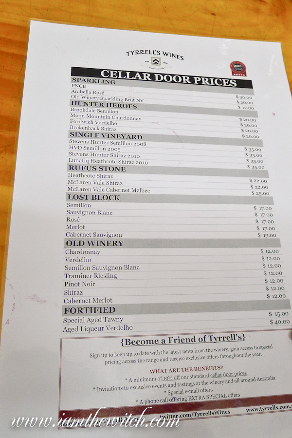 Tyrrells wine list