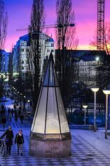 Beautiful sky and strange prismatoid (tat.aks) Tags: street city sunset sky night sweden stockholm