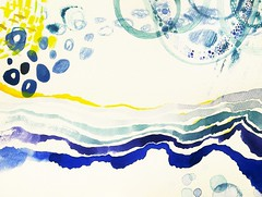 (Kondor Vali) Tags: blue original cloud sun abstract water rain yellow horizontal watercolor painting landscape aquarelle stroke brush aquarela kondorvaleria