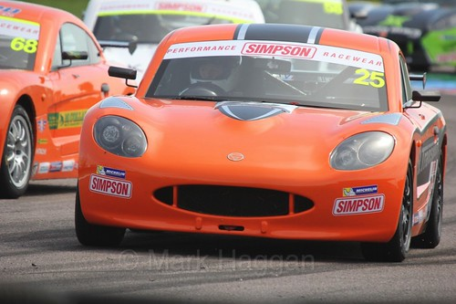 Connor Grady in the Ginetta Juniors Race during the BTCC Weekend at Thruxton, May 2016