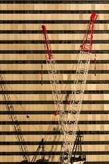 V (red snapper 205) Tags: light shadow red white building tower architecture office lift crane brisbane explore v