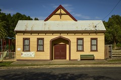 Mt Egerton Mechanics' Hall (phunnyfotos) Tags: building heritage architecture facade hall nikon seat australia victoria front historic d750 vic weatherboard publichall relocated mechanicsinstitute mountegerton mechanicshall centralvictoria mtegerton phunnyfotos nikond750