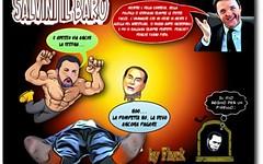 salvini gioca a wrestling con berlusconi, silvio perde la testa. (SatiraItalia) Tags: humor vignette satira