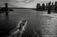 Tugboat Pushing Barge #tugboat #barge #eastriver #newyorkcity #nyc #newyork #brooklynbridge #blackandwhite #bnw #bandw (Steve Soblick) Tags: nyc newyorkcity blackandwhite newyork brooklynbridge eastriver tugboat bandw barge bnw