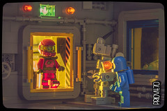 Hmm... definitely missing a woman's touch! (Priovit70) Tags: lego space classicspace outpostalpha minifigures benny mrrobot spacegirl airlock spacesuit pink olympuspenepl7