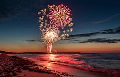 Fireworks at Sunset (m.cjo Fotografie - Martin Rakelmann) Tags: sunset sea beach strand germany deutschland pier sonnenuntergang fireworks baltic rgen ostsee feuerwerk seebrcke ghren