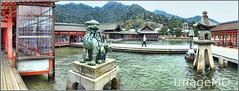 Lion-dog Shrine (ImageMD) Tags: panorama japan shrine miyajima shinto liondog komainu iphone itsukushima
