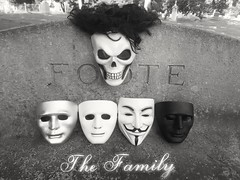 The Family (PhotoJester40) Tags: shadow blackandwhite outside outdoors guyfawkes bnw thefamily grandrapidsmichigan sylva oakhillcemetery deepthinker maskfamily skullmaster incemetery