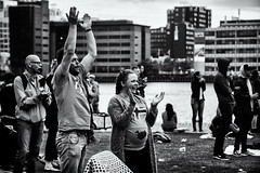 The Iceland Viking Chant (Claus Tom) Tags: street blackandwhite bw port copenhagen denmark evening harbor marine candid soccer streetphotography transportation cph em uefa kbenhavn islandsbrygge em2016 uefaeuro2016