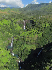 Kahili Falls, Hanapp Valley, Kauai, Hawaii, 2010. (Precious Dream) Tags: travel trees sky panorama tree green nature pool canon landscape photography hawaii waterfall pools waterfalls valley scenary kauai hawaiian lush gardenisland fivesisters kolor kahilifalls