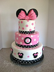 Girly Mouse Ears (Elegant Cake Creations AZ) Tags: pink white black girl cake round minniemouse bows polkadot 2ndbirthday 3tier