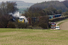 70018 On fire near Wallers Ash Loop (Adrian Williams | P H O T O G R A P H Y) Tags: fire engine rail hampshire ash network winchester freight brigade freightliner wallers micheldever 70018