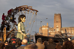 "Royal De Luxe. ""Sea Odyssey"", giant girl, street theater. Liverpool (Ianmoran1970) Tags: light sun girl liverpool puppet cathederal strings streettheater royaldeluxe ianmoran seaodyssey ianmoran1970"