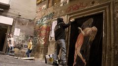 La Morte e la Fanciulla (ilda) Tags: urban italy streetart collage painting strada peinture installation napoli naples ephemeral italie hering zilda deathandthemaiden phmre ilda fragilesfabulae
