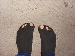 Job socks (lasseman92) Tags: broken stockings sport socks sock toe hole bad holes holy terrible worn torn heel trasig hobo hollow ragged tattered holey inherited hål tå strumpa häl luffar strumphål utslitna