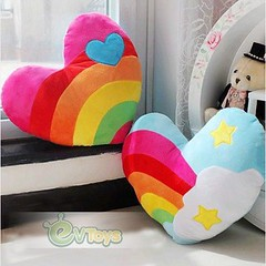 Valentines 15.8 Inch Stuffed Plush Rainbow Heart Toy Gift Back Cushion Throw Pillow (Lee Helen) Tags: birthday toy back stuffed rainbow inch heart plush pillow gift valentines cushion throw 158