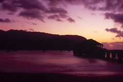 Sunset, Hanalei Pier (Alexander Rabb) Tags: longexposure sunset film beach boats hawaii pier nikon fuji kauai hanaleipier hi nikkor nikonf e6 hanalei hanaleibay fujivelvia100 micronikkor55mmf35 hanaleibeach