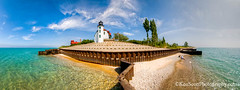 Pt. Betsie Lighthouse ... 'island' (Ken Scott) Tags: summer panorama usa michigan july bluesky lakemichigan greatlakes 2012 freshwater whiteclouds benziecounty turquoisewater fhdr ptbetsielighthouse frombreakeriron