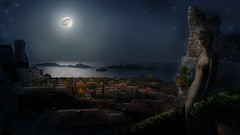 Tropique (ETt_) Tags: light sea moon statue night stars island town village tropic nightfall