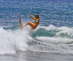 kick (bluewavechris) Tags: ocean sea sun water girl female fun hawaii surf ride action kick surfer board wave maui spray bikini foam surfboard swell wahine surfergirl