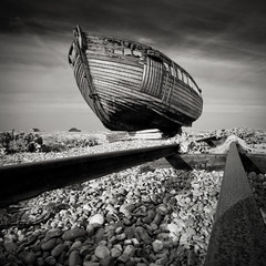 Fishing Boat 3 (gregheath) Tags: beach coast blackwhite ngc shore dungeness fishingboat d700
