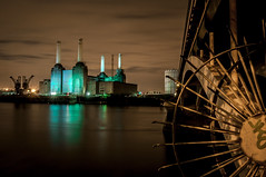 Battersea Power Station (Scott Baldock Photography) Tags: park uk nightphotography bridge urban reflection building green london art halloween station architecture night buildings river dark landscape lights nikon neon chelsea power nine cranes lane gb battersea riverthames pimlico lightroom elms sw11 sw3 d5000