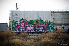 Another Croe Bites the Dust (208 Bench) Tags: art train graffiti beef rail crew etc boxcar crow graff freight etcetera armn asic croe