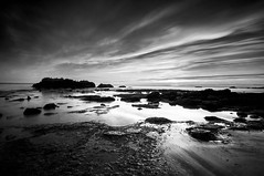 (dyeisag) Tags: ocean california longexposure november autumn sunset sky blackandwhite seascape beach water clouds serene southerncalifornia slowshutterspeed