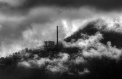 cloud factory switzerland (mariusz kluzniak) Tags: chimney bw white mountain lake black france mountains alps clouds contrast lens switzerland high europe factory geneva zoom sony central mm alpha lenses 580 70400 a580