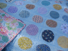 Appliqued Circles Quilt (627HandWorks - Julie Hirt) Tags: circle picnic quilt circles dot cotton blanket quilting applique binding backing appliqued reproductionfabric straightlinequilting straightlinequiliting