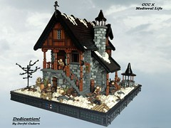 Dedication! (- Derfel Cadarn -) Tags: winter castle lego cottage blacksmith forge norse