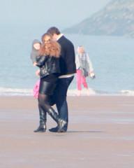walking the beach (Peter Roz) Tags: black stockings girl walking couple boots nylon
