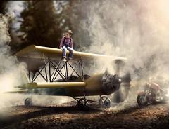 The Aviator (Gabriel Tomoiaga) Tags: boy mist classic fog plane vintage outdoors model aviation smoke explorer machine adventure explore fantasy portraiture motorcycle propeller magical aviator whimsical