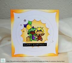 Happy Birthday (in onesie) (Lisa/B) Tags: birthday handmade creative columbuscircle cardmaking mamaelephant distressinks zigcleancolorrealbrush clearlybesotted lbcardcreations allinonesie