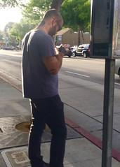 IMG_8991 (danimaniacs) Tags: street man hot sexy guy tattoo beard cellphone hunk westhollywood stud scruff mansolo