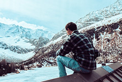 Breaking Away (Lorenzo Scudiero) Tags: travel winter boy sky sun lake snow ice rooftop nature field shirt clouds landscape woods alone adventure explore vibes