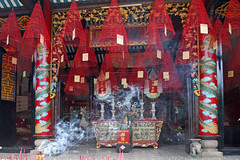 Offerings at the Quang Trieu Assembly Hall (Helen M Evans) Tags: temple vietnam hoian incense cantoneseassemblyhall quangtrieu quangtrieuassemblyhall
