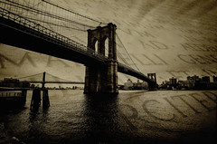 Brooklyn Bridge (Brandon Godfrey) Tags: nyc newyorkcity blackandwhite bw newyork texture monochrome sepia brooklyn manhattan brooklynbridge manhattanbridge eastriver suspensionbridge lowermanhattan