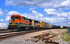 "Westbound Transfer in Kansas City, MO (""Righteous"" Grant G.) Tags: city railroad west yard train power railway trains missouri kansas locomotive transfer ge job bnsf westbound kcs emd"