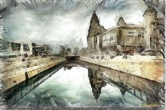 PENCIL SKETCH (Derek Hyamson) Tags: liverpool sketch impression hdr pierhead