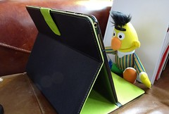Bert On The Tablet. (ManOfYorkshire) Tags: camera friends digital computer toy sitting looking character sony watching bert samsung sesamestreet skype tablet enjoyment checking catchingup emails