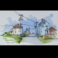 Bonavista Newfoundland (sheelerart) Tags: original canada art architecture farmhouse ink newfoundland watercolor painting landscape countryside video farm watercolour eastcoast penandink bonavista youtube winsorandnewton paintingaday imagesofcanada youtubers moleskinearts